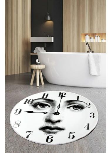Arma House 80x80 Dijital Kaymaz Tabanlı Clock Fornasetti Banyo ve Kapı Paspası Renkli